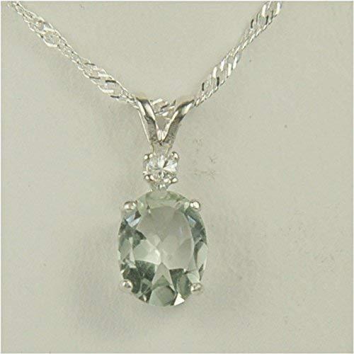 Prasiolite Green Amethyst Gemstone Pendant Necklace 9x7mm With White Sapphire Accent