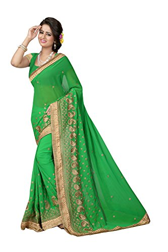 Indian Sarees for Women Wedding Designer Party Wear Traditional Perrot Green Saree. by Fashions Trendz