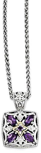 14k Amethyst Jewelry Set (ICE CARATS 925 Sterling Silver 14k Diamond Purple Amethyst Chain Necklace Fine Jewelry Gift Set For Women Heart)