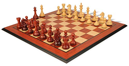Fierce Knight Staunton Chess Set Padauk & Boxwood Pieces with Molded Edge Padauk Chess Board - 4