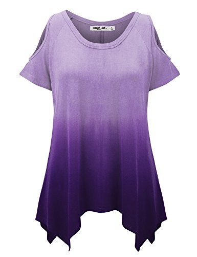 WT1093 Womens Ombre Round Neck Short Sleeve Cut Out Off Shoulder Top XXXL PURPLE