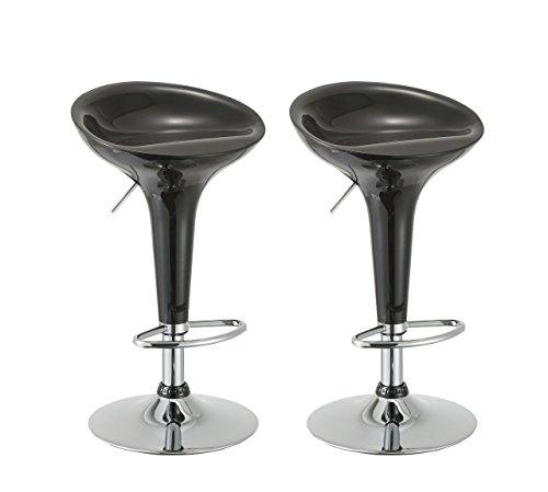 - Duhome Elegant Lifestyle Bar Stool Set of 2 Gloss Adjustable Swivel Bar Chair with ABS Plastic Seat (Black)