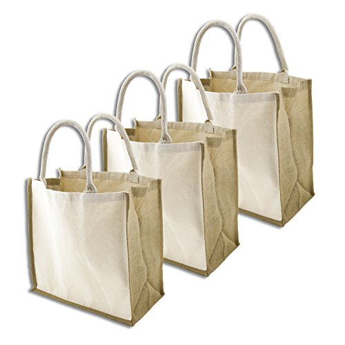 Simple Ecology Organic Canvas & Jute Reusable X-Large Tote & Grocery Shopping Bag - 3 Pack (heavy duty, comfortable & durable handles, foldable, craft & gift bag, burlap bag, handbag)