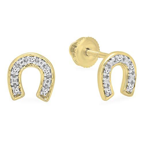 Dazzlingrock Collection 0.06 Carat (ctw) Round White Diamond Horse Shoe Stud Earrings, 10K Yellow Gold