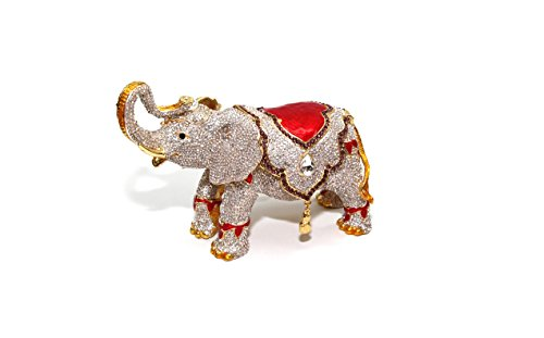 Elephant Crystal Jewelry - Gold & White Elephant 8-inch Enameled Figurine, 24K Gold Trinket Jewelry Box with Swarovski Crystal, Hand-made (Big Elephant)