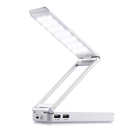 AKSOR LED Desk Lamp, Rechargeable Table Lamp with 4000mAh Portable Charger, Eye-Care Dimmable Reading Light Bedside Lamp and (Eye Bank)