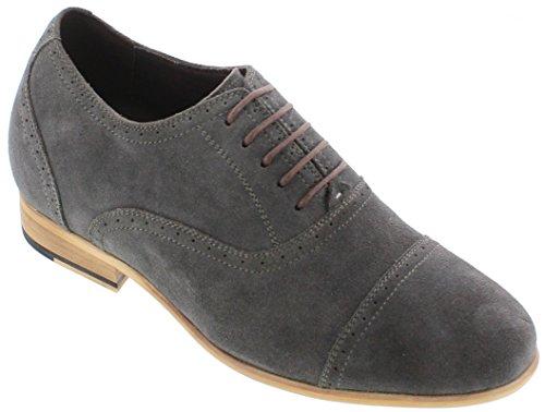 calto–g65021–7,1cm Grande Taille–Hauteur Augmenter Chaussures ascenseur–en nubuck gris