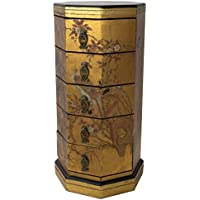 Oriental Furniture Gold Leaf Five Drawer Octagonal Chest, 5 Drawer