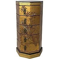 Oriental Furniture Gold Leaf Five Drawer Octagonal Chest, 5 Drawer