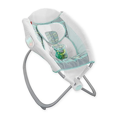 Fisher-Price Deluxe Newborn Auto Rock 'n Play Sleeper in Soothing River, GREEN/WHITE