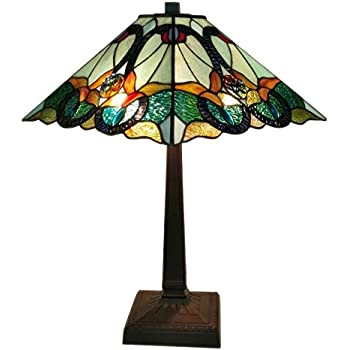lighting multicolored art glass high style floral mission table lamp dale tiffany lamps for sale on ebay large uk