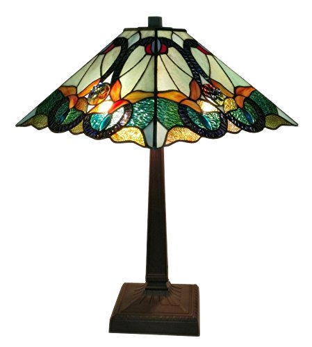 Amora Lighting AM254TL14 Tiffany Style Multicolored Mission Table Lamp, 23 inch High ()