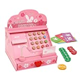 Wood Change & Charge Children Early Educational Cash Register Toy with Play Wooden Coins, Bills & Credit Cards