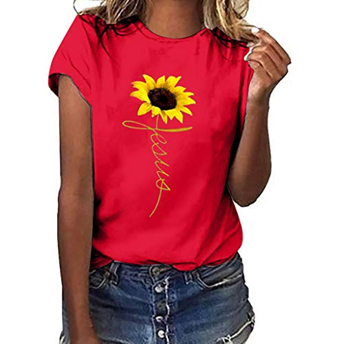 Women T-Shirt Casual Summer Short Sleeve Tee Sunflower Print Loose Fit Blouse Tops (M, Red 2)