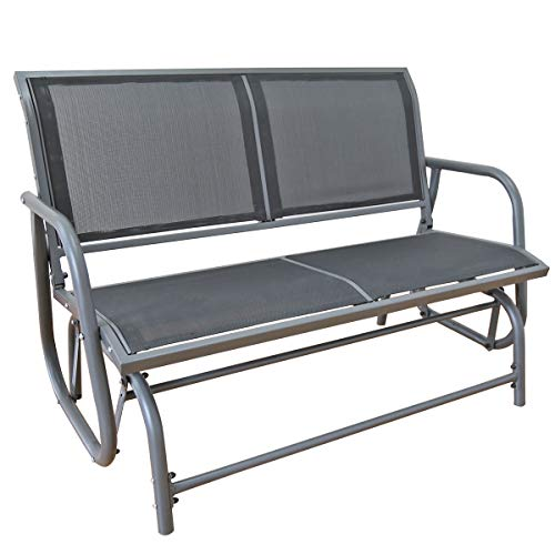 Double Garden Glider (Yardeen Swing Glider Chair Patio Loveseat Rocking Bench Garden Porch Seating, Double Grey Mesh)