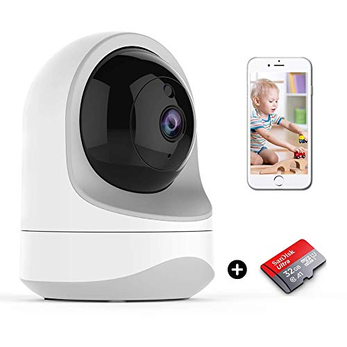 WiFi Camera with Free 32G MicroSD Card, WallQmer 2019 Autumn Design, Baby Monitor, 1080P, Pan/Tilt/Zoom, Night Vision, Motion Alerts, 2 Way Audio, Cloud/SD Card Storage for Pets/Kids/Nanny/Security