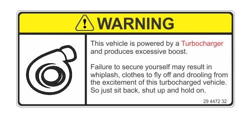 JS Artworks Warning This Vehicle is Turbocharged Vinyl Sticker Decal