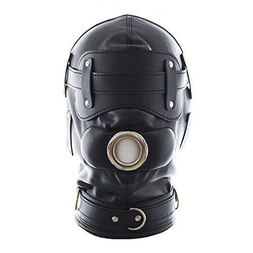 Black BDSM Bondage Mask Leather Hood All Colsed with Mouth Gag Headgear Harness In Adult Games Cosplay Costum