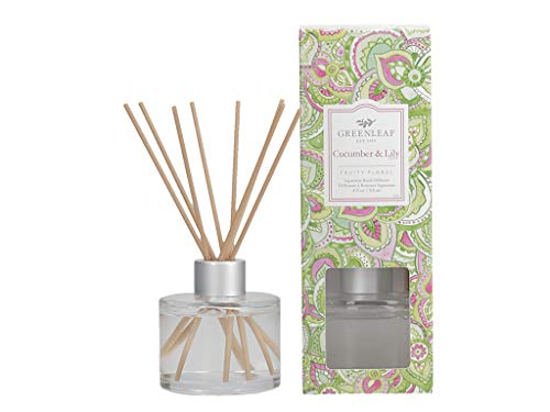 GREENLEAF Signature Reed Diffuser - Cucumber Lily - Lasts Up to 30 Days - Made in The USA