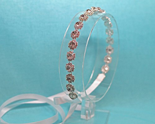 Belle Fleur Silver Tone Ribbon Tie Back Wedding Headband by The Ivory Willow
