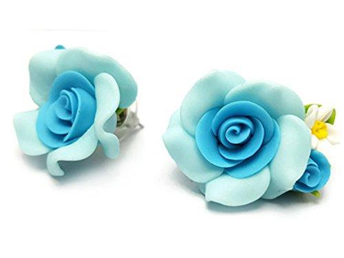 CHADADA Classic Porcelain Two-Tone Rose Post Stud Earrings (]Light Blue), EH48