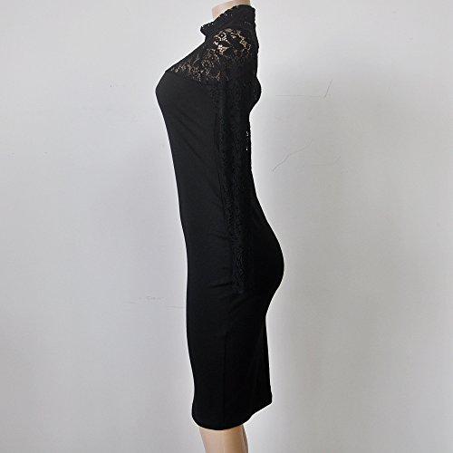 932cb1ae2020 Vestiti Donna Eleganti Vintage Vestito Tubino Ginocchio Abito in Pizzo  Manica Moda Giovane Lunga Slinky Collo Alto Slim Fit Abiti da Cerimonia  Vestitini ...