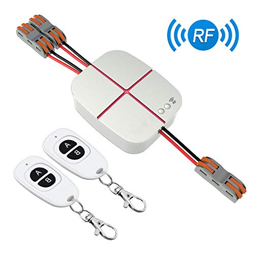 (eMylo 2 Channels Remote Control Switch AC 110V-240V Wireless 10A Relay Receiver Module RF Switch 433Mhz compatible wall switch with 2pcs Transmitters and One Receiver for Smart Home Life)