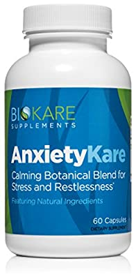 AnxietyKare from BioKARE - All Natural Stress and Anxiety Relief Herbal Supplement - Non-Addictive and Fast Acting - 60 Veggie Capsules with Chamomile, GABA, Phenibut, and More!
