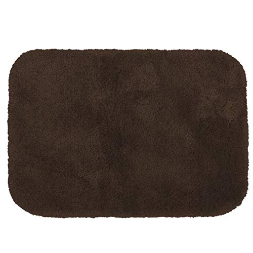 MattsGlobal Shop Duet 17-Inch x 24-Inch Bath Rug - Luxuriously Soft and Plush to Touch 100% Nylon- Stain-Resistant Perfect for Bathroom Use - Multiple Colors Available (Java)