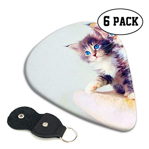 Guitar Picks Plectrums Cat Kitten Cute Baby Classic Electric Celluloid Acoustic for Bass Mandolin Ukulele 6 Pack 3 Sizes ()