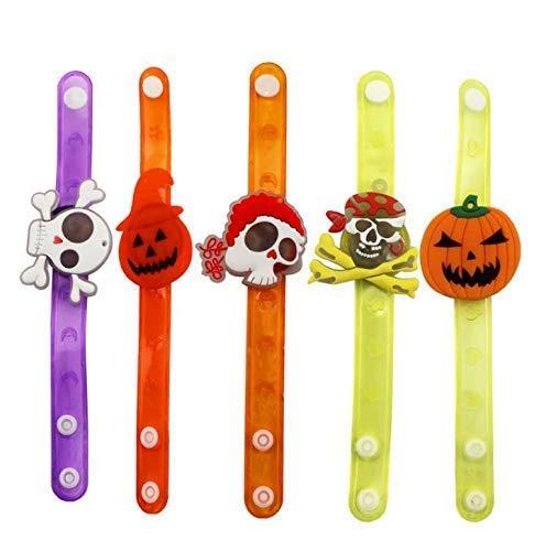 Gwill 6 Pcs Boy Girls Kids Cartoon Light Up Pumkin Ghost Wristband Led Flashing Bracelet Bangle Party Glow Halloween -
