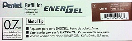 Pentel Refill Ink for EnerGel RTX Retractable Liquid Gel Pen 12 Pack, 0.7mm, Medium Line, Brown (LR7-E) Photo #3