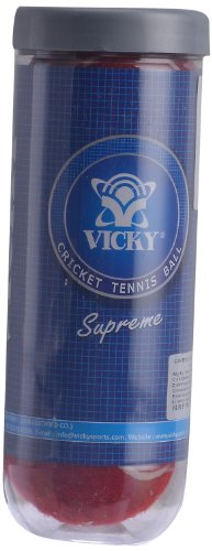 Vicky Rubber Supreme Cricket Tennis Ball  Red    Pack of 3