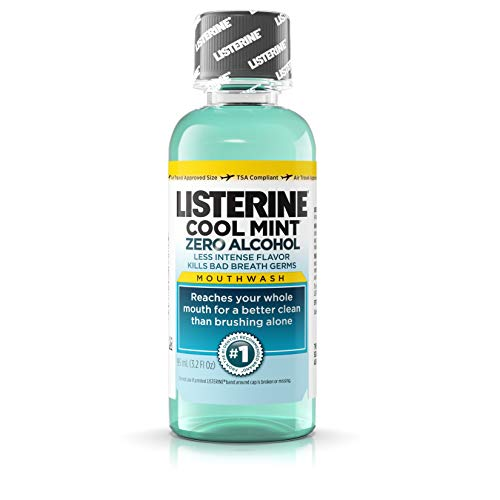 Travel Size Mouthwash - Listerine Zero Alcohol Mouthwash, Less Intense Alcohol-Free Oral Care Formula for Bad Breath, Cool Mint Flavor, 3.2 fl. oz (pack of 12)