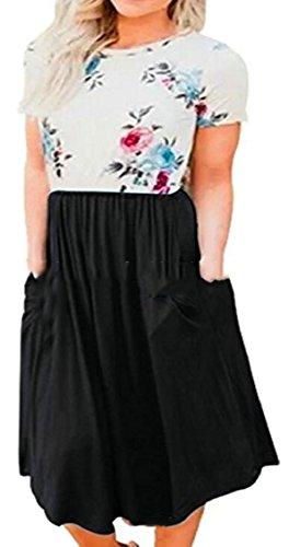 Black Floral Pockets Patchwork Midi with Jaycargogo Sleeve Womens Short Dress T7Bqw7zxU5