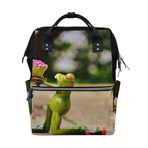 Frog Propose Marriage Lover Diaper Bag Backpack, Large Capacity Muti-Function Travel Backpack Nappy Bags Travel Mom Backpack for Baby Care