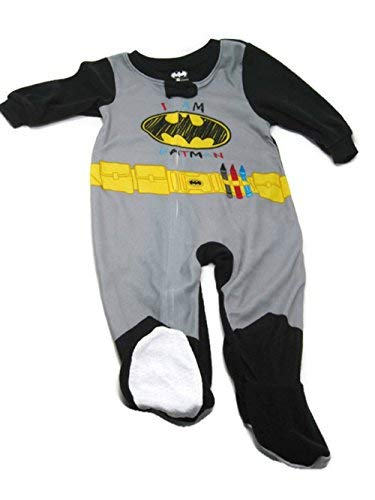 DC Batman Boys One Piece Bodysuit Pajamas with Footies,Multi-color,9 Months