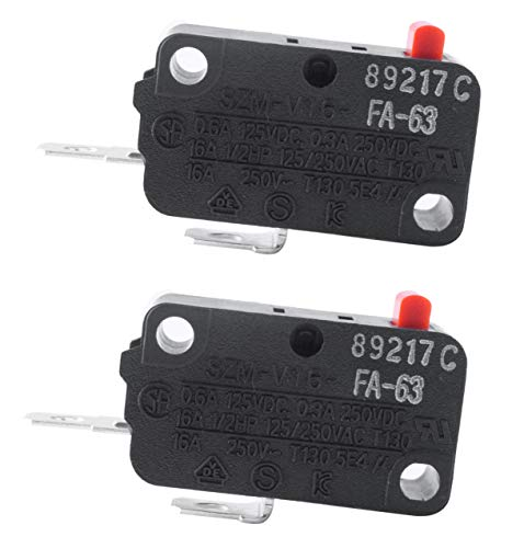 Podoy SZM-V16-FA-63 Microwave Switch for LG 3B73362F Micro Monitor Switch Normally Open WB24X830 SZM-V16-FD-63 (Pack of 2) Black ()