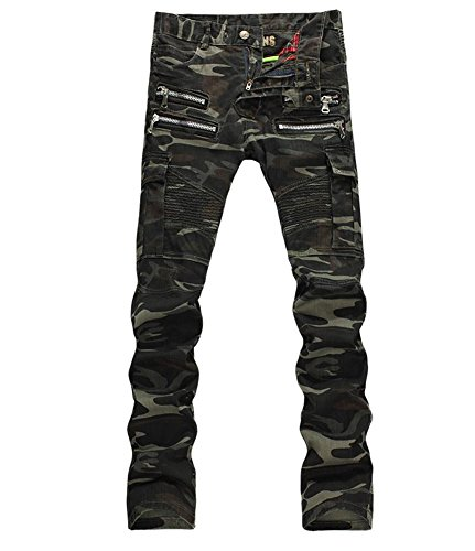 Denim Men's Camouflage Pockets Slim Biker Jeans Size - Denim Camo