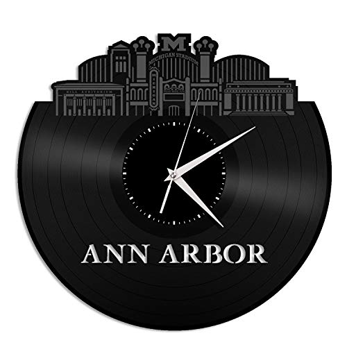 VinylShopUS - Ann Arbor MI Vinyl Wall Clock City Skyline Anniversary Unique Gift Office Home | Bedroom Decoration