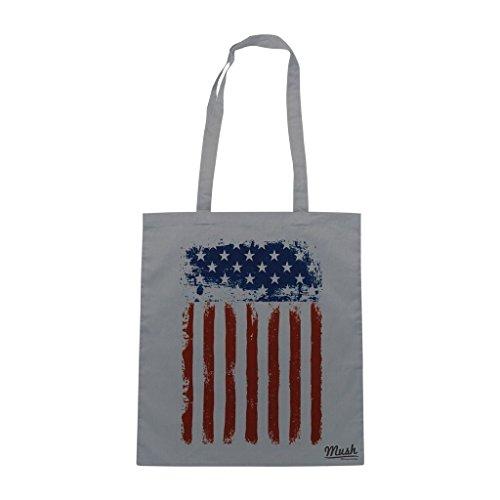 Borsa Bandiera Stati Uniti America Usa - Grigia - Famosi by Mush Dress Your Style
