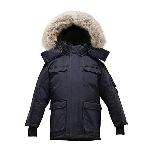 Triple F.A.T. Goose Chenega Boys Hooded Goose Down Arctic Snorkel Parka Jacket With Real Coyote Fur (6, Navy) by Triple F.A.T. Goose