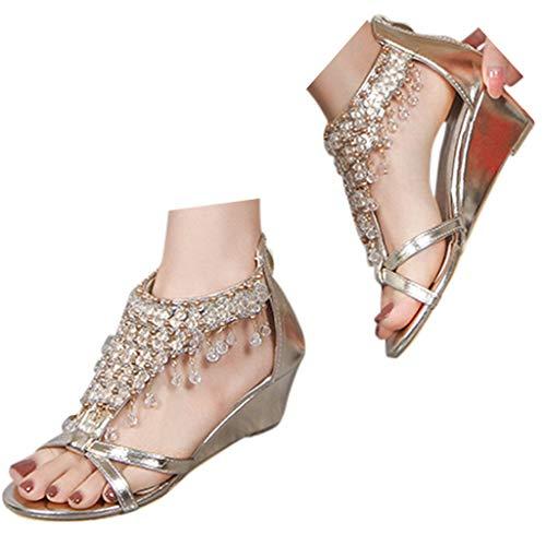 Veodhekai Womens Platform Wedges Sandals Pearl Pendant Sparkly Peep Toe Sandals Wedding Bohemian Roman Shoes Gold