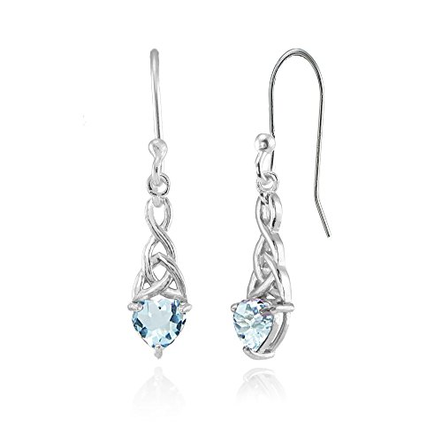 6mm Heart Blue Topaz Earring - Sterling Silver Blue Topaz 6x6mm Dainty Heart Celtic Knot Dangle Earrings