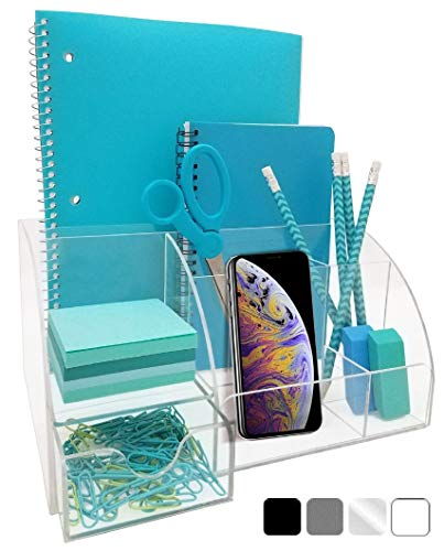 Acrylic Office Desk Organizer with Drawer, 9 Compartments, All in One Office Supplies and Cool Desk Accessories Organizer, Enhance Your Office Decor with This Desktop Organizer (Clear)]()