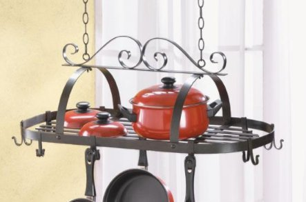 SKB Family Hanging Pot Holder Accent wrought iron hooks kitchen
