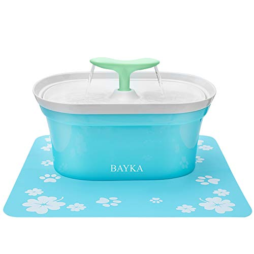 BAYKA Cat Water Fountain, 2.8L Automatic Pet Water Fountain Dog Water Dispenser with 3 Replacement Filters 1 Silicone Mat for Cats and Small to Medium Dogs (For Pet Fountain Large Dogs)