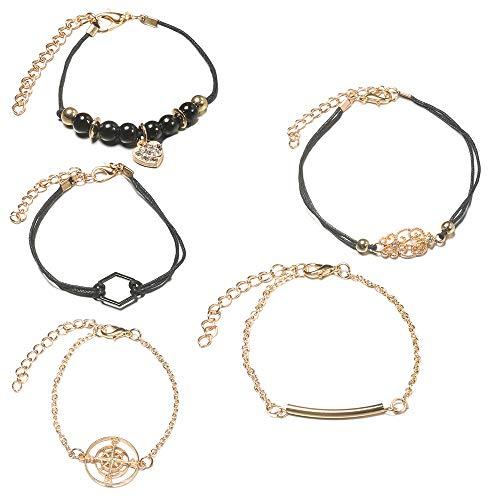NIHAI 5 Piece Set Women Bracelet Jewelry Adjustable Chain Personality Compass Totem Black Hexagon Bracelet Love Diamond Pendant Girls Birthdays Gift
