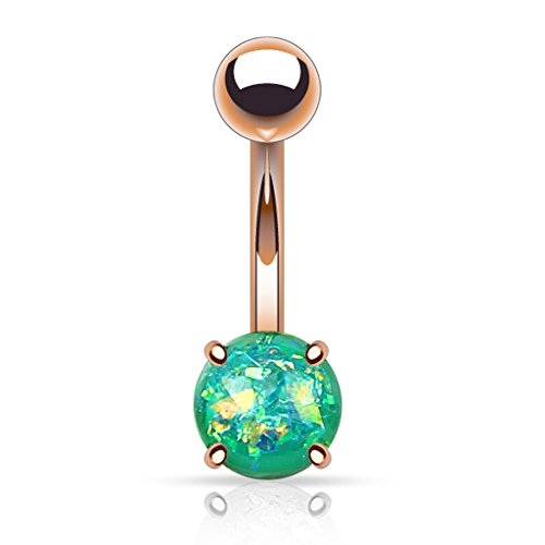 Fifth Cue 14G Opal Glitter Prong Set Rose Gold IP Over 316L Surgical Steel Belly Button Ring (Synthetic Opal) - Green ()