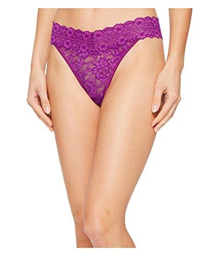 Hanky Panky Women's Cross-Dyed Signature Lace Original Rise Thong Purple Velvet/Silk Rose One Size